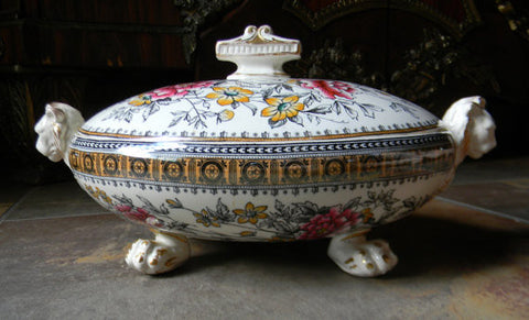 Antique Figural Lion Footed & Handled Black Polychrome Transferware Tureen Spode W T Copeland