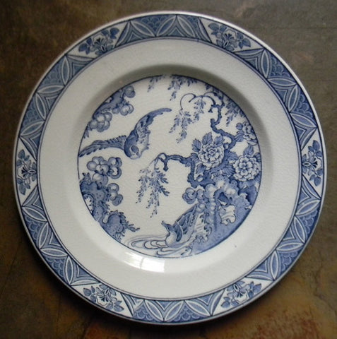 Blue Transferware Plate Aesthetic Birds / Ducks / Mallards Flowers Stream Vintage English Staffordshire - Decorative Plate