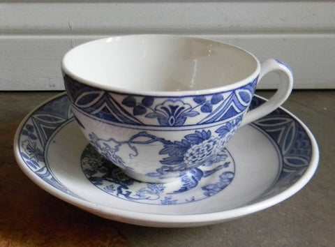 Blue and White Transferware Teacup & Saucer Aesthetic Birds / Ducks / Mallards Flowers Pond  Vintage English  - Cup - Gift