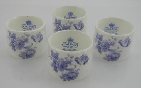 Blue Transferware Napkin Ring / Rings  Set of Four (4)   Coalport DIVINITY BLUE  Tulips Roses Mums Flowers in Original Box (8 available)