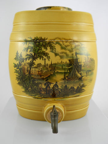 Black Transferware English Spirits Barrel / LIQUOR DECANTER FOR LAMP / DECOR / BAR - Nautical Ship Scene