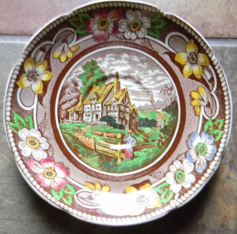 Polychrome Handpainted Brown English Transferware Plate Coalport Pastoral Pastoral Tudor Cottage Stream Flowers
