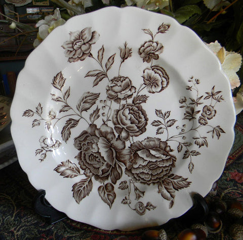 Brown English Transferware Plate Big Cabbage Roses Bouquet