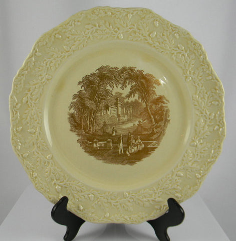 Masons Vista Metallic Gold Transferware CreamWare Scenic Plate Dog Park Couples RARE Embossed Oak Leaf & Acorn Border