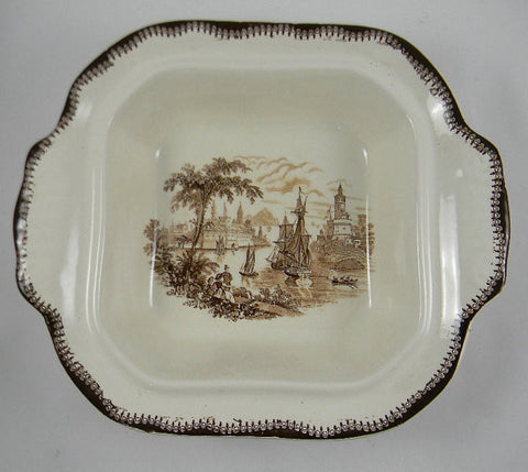 Vintage Brown English Transferware Tureen Tab Handled Casserole Dish  Safe Harbour Ship