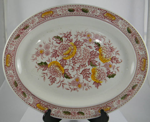 Large Red English Ironstone Transferware Canterbury Platter Handpainted Flowers