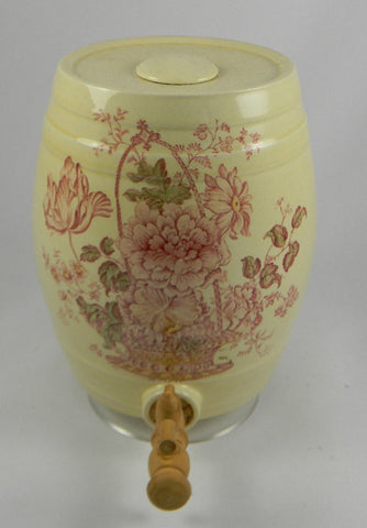 RARE Red Polychrome Transfer English Beverage Dispenser Barrel Keg Charlotte Basket of Flowers