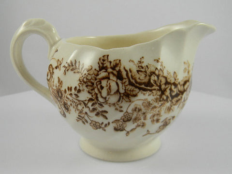 Peaceful Summer Clarice Cliff  Brown English Transferware Creamer Pitcher Cascading Waterfall- Fishing Scene - Fisherman
