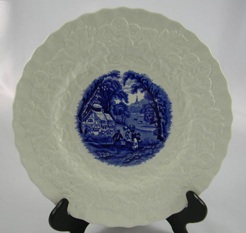 Blue Transferware Plate Relief Border Bucolic Scenery Grazing Cattle Ducks English Cottage