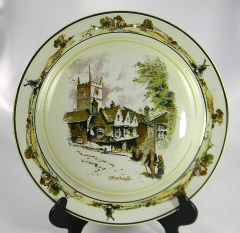 Vintage Ridgways Staffordshire Charger / Hanging Wall Plaque Coaching Days Old Marlborough Village Scene
