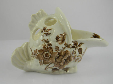 Brown Transferware Fish Shaped Pencil or Toothbrush Holder  Charlotte Staffordshire