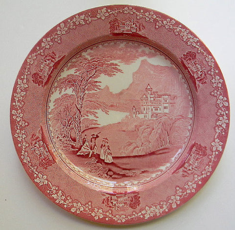 Large Pink Red Transferware Charger Cookie Tray Platter / Chop Plate - Mountains Castle
