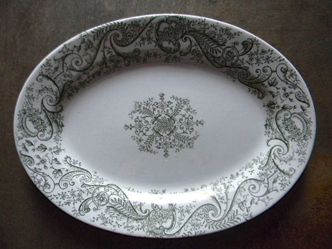 Antique English Victorian Staffordshire Loden / Olive Green Transferware Platter Ferns Flowers Garland Scrolls