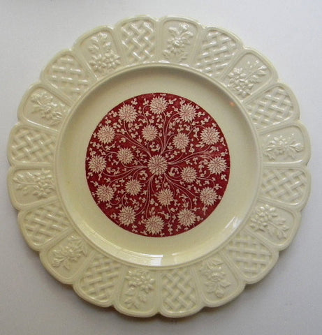 Vintage Coalport Red English Transferware Floral Chintz Dahlia or Chrysanthemum Embossed Border Creamware Plate England Vintage Coalport