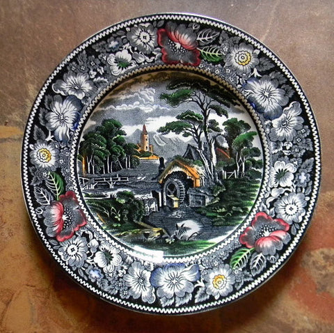 Black Polychrome Transferware Pastoral Midwinter Rural England Plate Church Water Mill Stream Bridge Peony