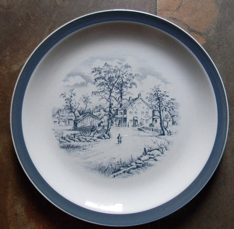 "Meakin ""Home In The Country"" Slate Gray English Transferware Plate Charming Farmstead Pastoral Scene - Cottage in the Country -"