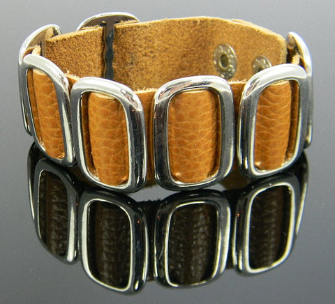 Embossed  Brown Leather Bracelet  Interwoven w/ Silver Buckle Links - Women, Teens (also comes in brown with  gold)