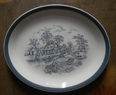 "Alfred Meakin ""Home in the Country"" Slate Gray English Transferware Platter Grazing Cows / Cattle Charming Farmstead Pastoral Scene - Cottage in the Country -"