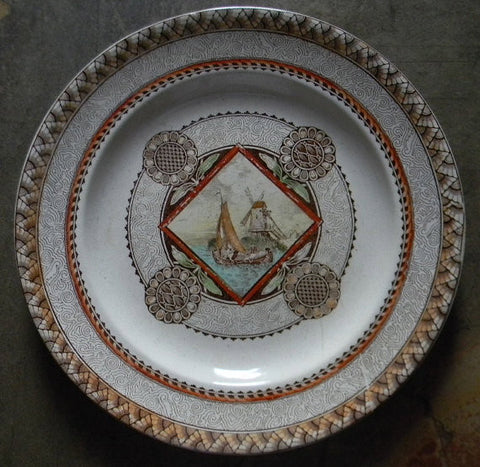 Hand Painted Brown English Transferware Plate Stunning 1871-90 Antique Aesthetic Movement  Geometric Medallion Sailboat Windmill