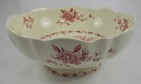 Large Mason's Watteau Red Transferware Scalloped Serving Bowl Dish