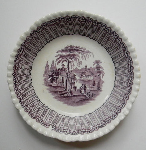 Vintage Adams Mazara Purple English Transferware Trinket Dish Candy Bowl Fishing Town Italy Italian