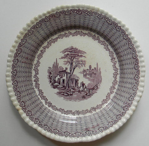 Antique Aubergine Stafordshire Plate  Purple Transferware Plate Adams Mazara Fishing Town Italy Italian