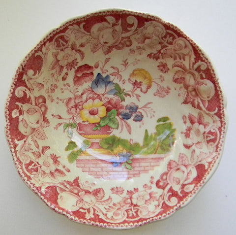 Vintage Red Transferware Polychrome Bowl Royal Doulton Pomeroy Urn with Flowers