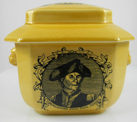 Black Transferware Tea Caddy Figural Face Shaped Handles Lidded Jar with Nautical Poem