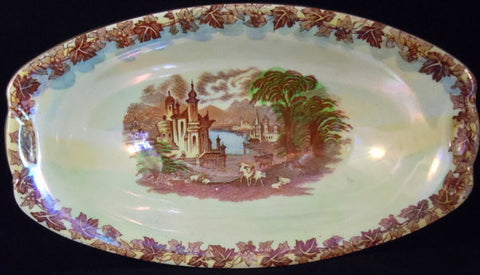Brown Transferware Lustre Ware Rectangular Serving Bowl Castle Grazing Sheep Cows Cattle