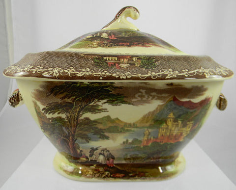 RARE Charles Meigh  Brown Transferware Large Soup Tureen Jenny Lind with hand painted highlights of red gold and green