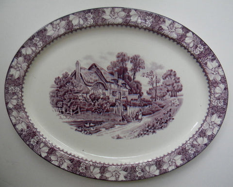 "14.5"" Large Vintage Purple English Transferware Serving Platter Picket Fence Thatched Cottage Children Sheep Peonies"