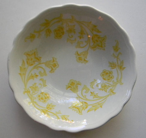 Vintage English Ironstone Bowls  Yellow and White  Scrolls and Vines on White Ironstone
