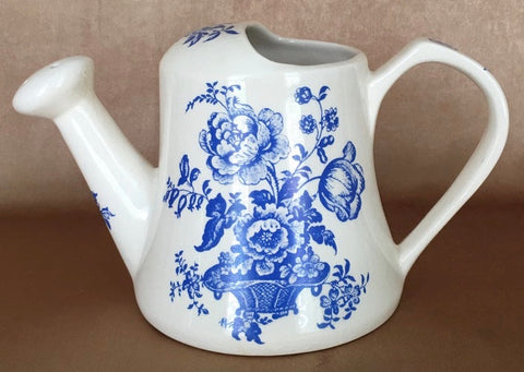 Blue English Ironstone Watering Can Pitcher Charlotte Basket of Roses