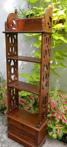Mahogany English Chippendale Victorian Style Hanging or Standing Wall Shelf  with Fret Work and 2 Drawers
