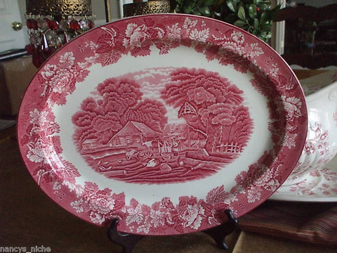 Large Vintage Red TRANSFERWARE PLATTER GIRL FEEDING FARM ANIMALS PIGS CHICKENS COWS ENGLAND Peonies