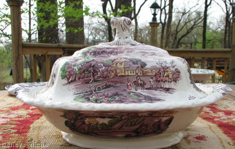 Purple Transferware Tureen Covered Casserole Early American Scenes Hand Painted Booths
