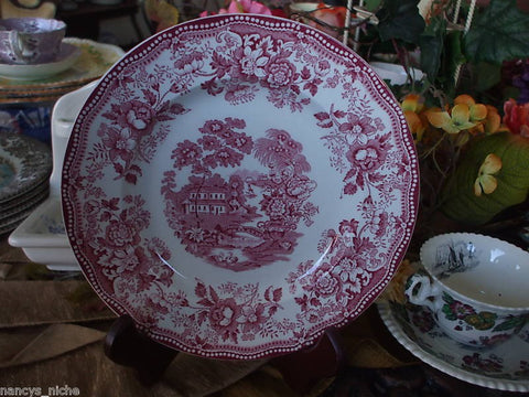 Scenic Swans and Roses Red Transferware Plate Tonquin