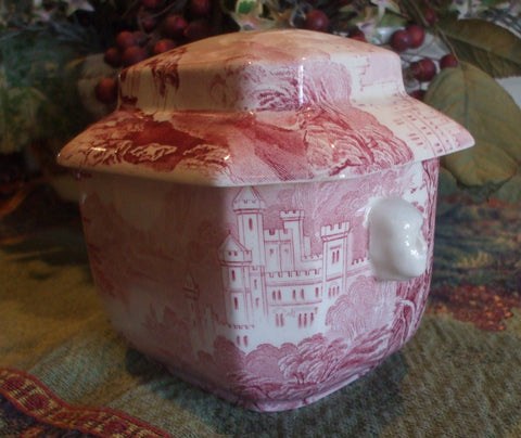 Vintage English Ironstone Red Transferware Tea Caddy Jenny Lind  Figural Face Shaped Handles Lidded Jar