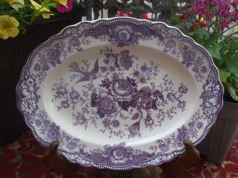 "14.25"" Vintage 1930's  Purple Toile Platter English Transferware Platter Birds Roses Pheasants"