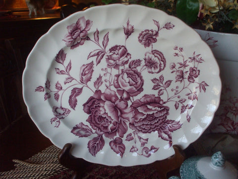 Purple Victorian Cabbage Roses Vintage English Transferware Platter