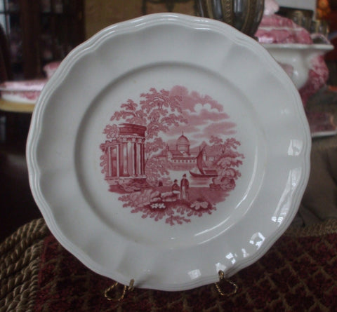 Spode Copeland Vintage Red Toile Transferware Plate Grecian Columns Sailboat Riverview