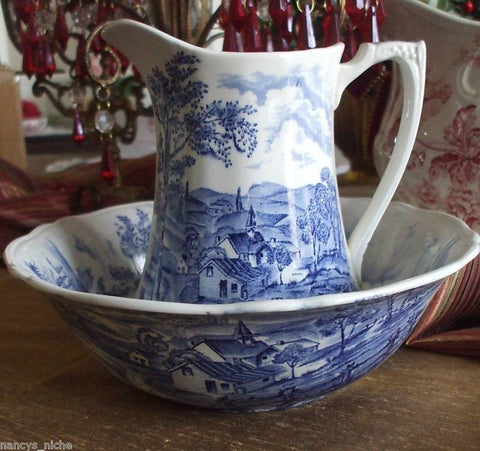 Vintage Blue Transferware Pitcher and Basin Bowl Pastoral Scene Reverie English Ironstone