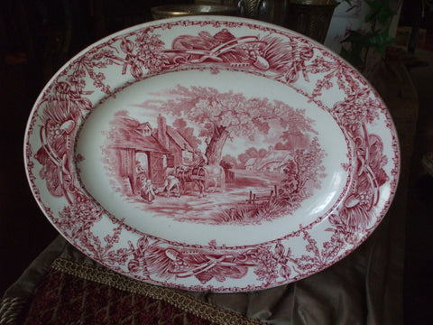 Red Transferware Rural Scenes Platter Children Horses - Vintage Transferware Platter - Farmhouse Kitchen Decor