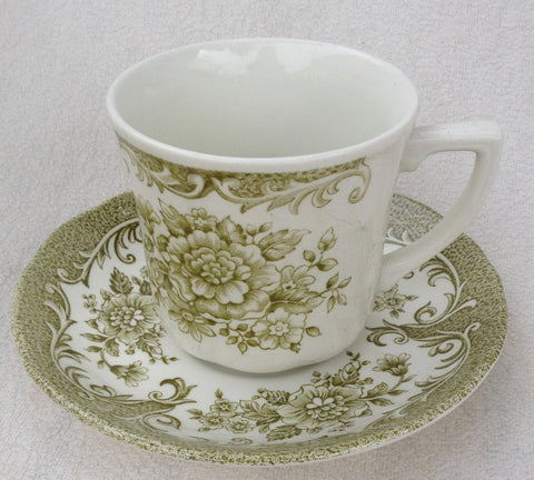 French Country Red Toile Sage Green Transferware Mug Cup & Saucer Cabbage Roses Daisies