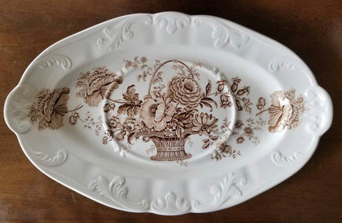 "Vintage 18"" Charlotte Embossed Brown English Transferware Platter Victorian Roses"