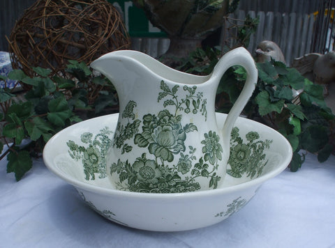 Charlotte Floral Green Transferware Wash Bowl - Basin and Pitcher Basket of Roses