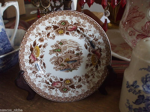 Polychrome Brown Transferware Vintage English Plate Castle Stream Roses