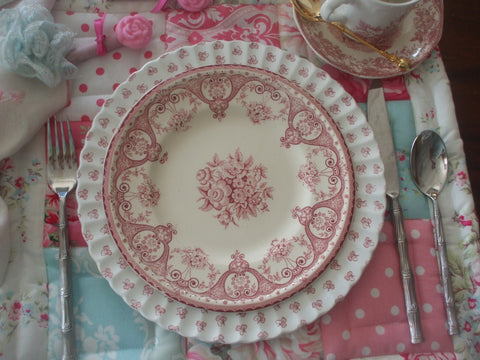 Red Pink Vintage English Transferware Plate Shabby Roses and Victorian Scrolls