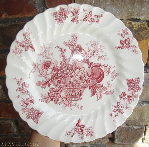 Red Toile Vintage English Transferware Plate Bountiful Victorian Basket of Fruits and Flowers