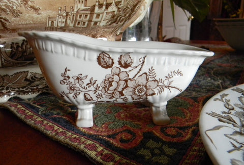 Brown Toile Transferware Ironstone Claw Foot Bath Tub Soap Dish Charlotte England